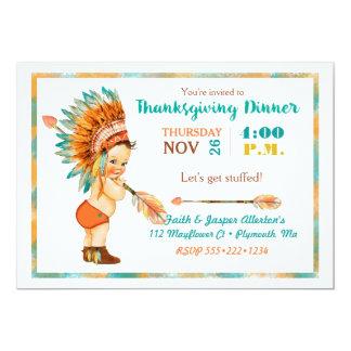ヴィンテージの男の赤ちゃんの種族の頭飾りの感謝祭 カード