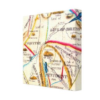 ヴィンテージの異様な愛感情のロマンチックなハートの地図 キャンバスプリント