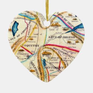 ヴィンテージの異様な愛感情のロマンチックなハートの地図 セラミックオーナメント
