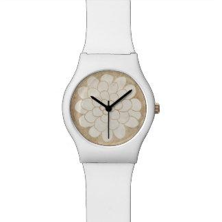 ヴィンテージの白いダリアの花の結婚式 腕時計