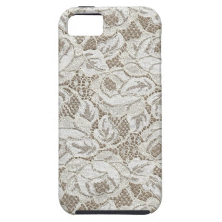 ヴィンテージの白いバラのレース iPhone SE/5/5s ケース