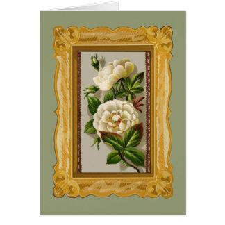 ヴィンテージの白いバラ カード