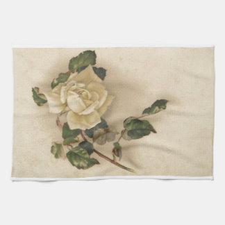 ヴィンテージの白いバラ キッチンタオル