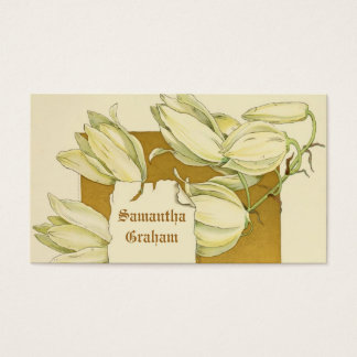 ヴィンテージの白いユリによってはカスタムな花柄が開花します 名刺