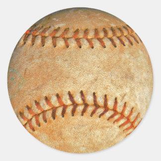 ヴィンテージの白い野球の赤いステッチ ラウンドシール