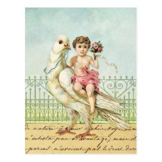 ヴィンテージの白い鳩のピンクの甘い天使の天使 ポストカード