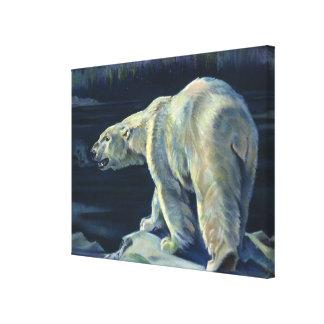 ヴィンテージの白くま、北極海洋生物動物 キャンバスプリント