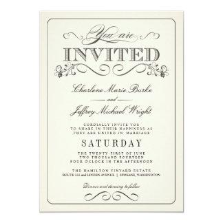 ヴィンテージの白くエレガントな結婚式招待状 カード