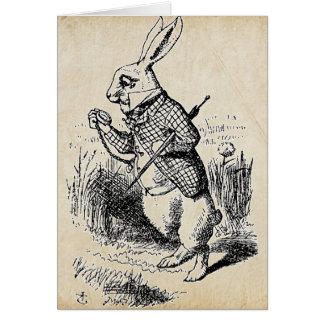 ヴィンテージの白のウサギ カード