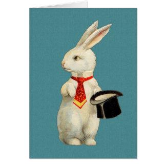 ヴィンテージの白のウサギ ノートカード
