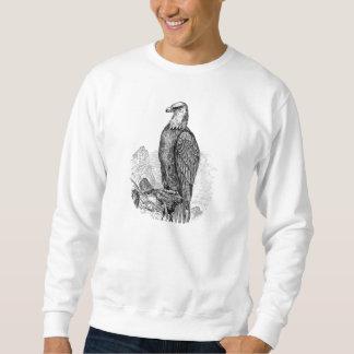 ヴィンテージの白頭鷲-鳥のテンプレートのブランク スウェットシャツ