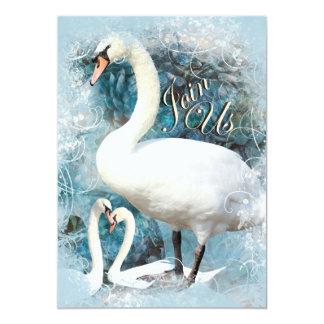 ヴィンテージの白鳥の婚約のエレガントなパーティー カード