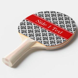ヴィンテージの白黒のダマスク織#3の赤い一流のモノグラム 卓球ラケット