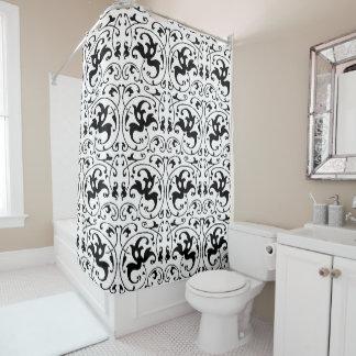 ヴィンテージの白黒の渦巻 シャワーカーテン