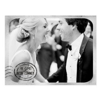 ヴィンテージの白黒の結婚式は感謝していしています はがき