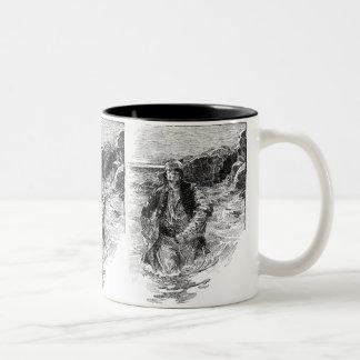 ヴィンテージの白黒海賊スケッチ、章末飾り ツートーンマグカップ
