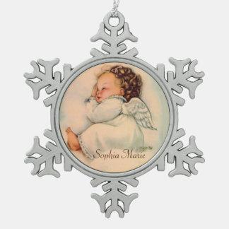 ヴィンテージの睡眠の女の赤ちゃんの天使 スノーフレークピューターオーナメント