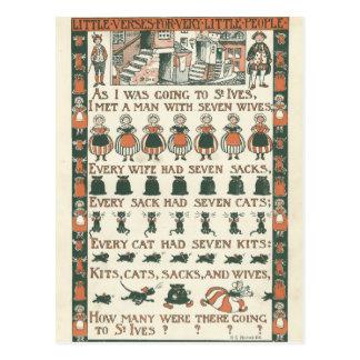 ヴィンテージの短命なものの童謡の郵便はがき ポストカード