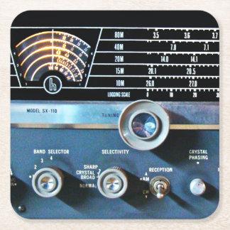ヴィンテージの短波の受信機 スクエアペーパーコースター