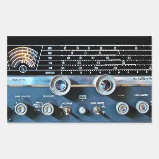 ヴィンテージの短波の受信機 長方形シール