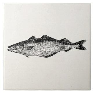 ヴィンテージの石炭魚-魚のテンプレートのブランク タイル