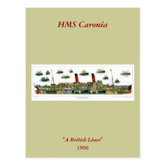 ヴィンテージの石版のイギリスの遠洋定期船RMS Caronia ポストカード