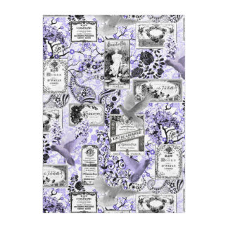 ヴィンテージの石鹸および香水のラベル-薄紫 アクリルウォールアート