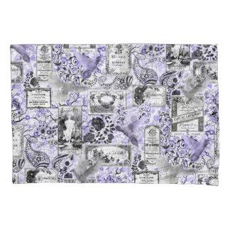ヴィンテージの石鹸および香水のラベル-薄紫 枕カバー