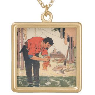 ヴィンテージの石鹸広告ネックレス ゴールドプレートネックレス