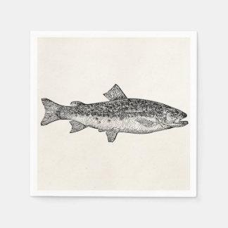 ヴィンテージの硬鱗魚類ガーパイク属の魚-水中競技はテンプレートのブランクを採取します スタンダードカクテルナプキン