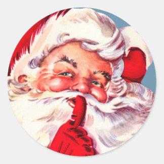 ヴィンテージの秘密のサンタのクリスマスのステッカー ラウンドシール
