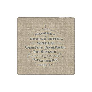 ヴィンテージの穀物袋スタイルの食料雑貨品店の印のバーラップ ストーンマグネット