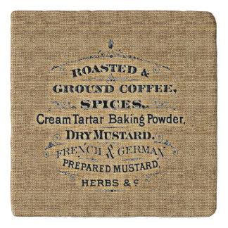 ヴィンテージの穀物袋スタイルの食料雑貨品店の印のバーラップ トリベット
