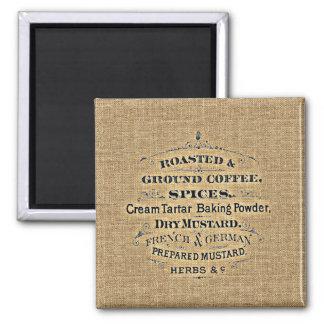 ヴィンテージの穀物袋スタイルの食料雑貨品店の印のバーラップ マグネット