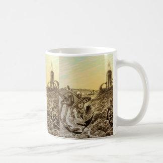 ヴィンテージの空想科学小説のエイリアンの惑星の建築 コーヒーマグカップ