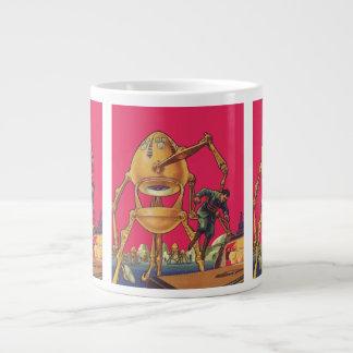 ヴィンテージの空想科学小説の外国のロボットは人を捕獲します ジャンボコーヒーマグカップ