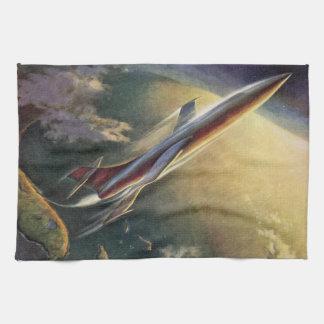 ヴィンテージの空想科学小説の宇宙船の飛行機の地球 キッチンタオル