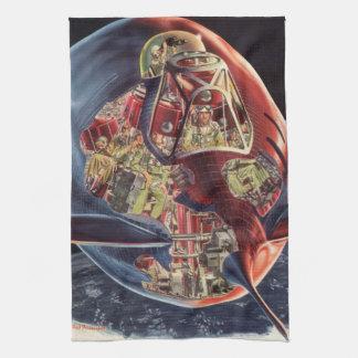 ヴィンテージの空想科学小説の宇宙飛行士のロケットの宇宙船 キッチンタオル