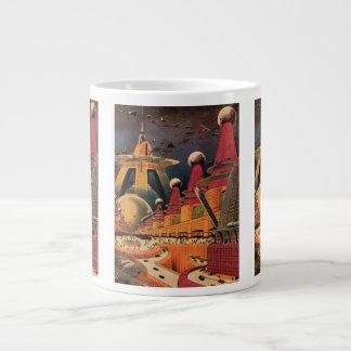 ヴィンテージの空想科学小説の未来派都市飛んでいるな車 ジャンボコーヒーマグカップ