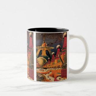 ヴィンテージの空想科学小説の未来派都市飛んでいるな車 ツートーンマグカップ