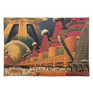 ヴィンテージの空想科学小説の未来派都市飛んでいるな車 ランチョンマット