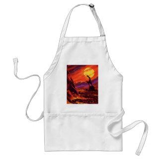ヴィンテージの空想科学小説の火山惑星wの赤の溶岩 スタンダードエプロン