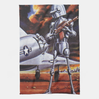 ヴィンテージの空想科学小説の軍のロボット兵士 キッチンタオル