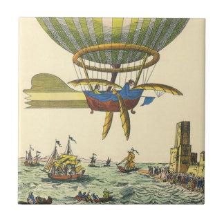 ヴィンテージの空想科学小説のSteampunkの熱気の気球 タイル