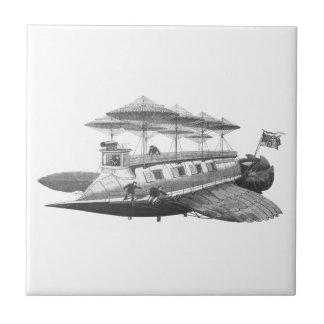 ヴィンテージの空想科学小説のSteampunkの飛行船食 タイル