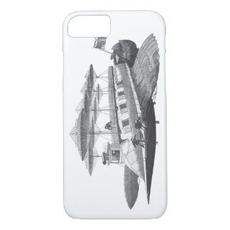 ヴィンテージの空想科学小説のSteampunkの飛行船食 iPhone 8/7ケース