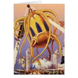ヴィンテージの空想科学小説外国戦争の侵入のタコ グリーティングカード