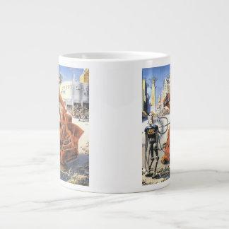 ヴィンテージの空想科学小説未来派都市エイリアン戦争 ジャンボコーヒーマグカップ