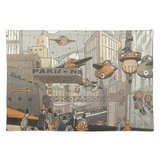 ヴィンテージの空想科学小説都市パリの蒸気のパンク ランチョンマット