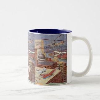 ヴィンテージの空想科学小説都市、蒸気のパンク機械 ツートーンマグカップ